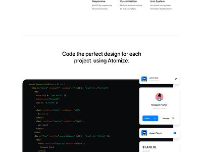 Atomize React ⚛️ react styleguide minimal website ux typography ui animation reactjs design system landing page