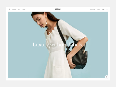 Italic Search design system landing page search interaction ecommerce animation minimal