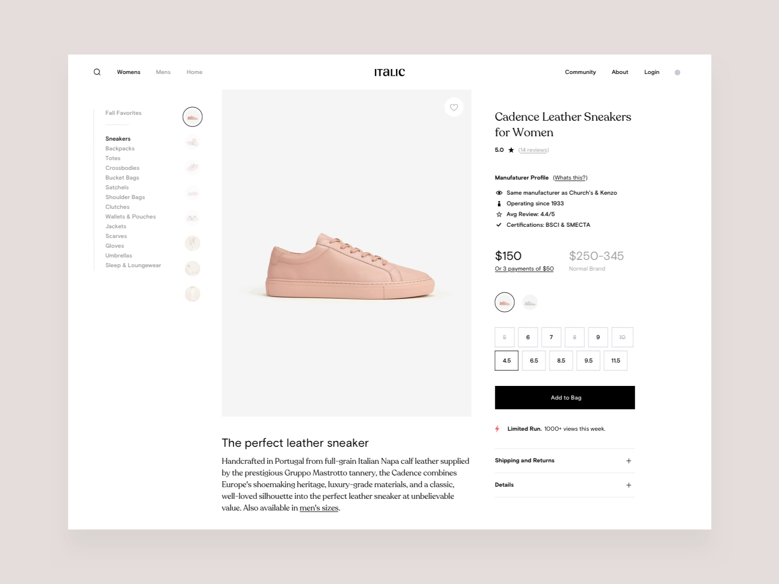 Italic product page