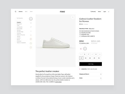 Italic Product Page ui fashion brand fashion interaction carousel minimal ecommerce animation