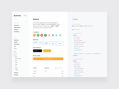 Atomize Documentation props icon code buttons component ui documentation design system