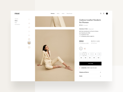 Product Page Carousel animation design system shoes pdp variants category shopping ux ui website minimal fashion product page ecommerce