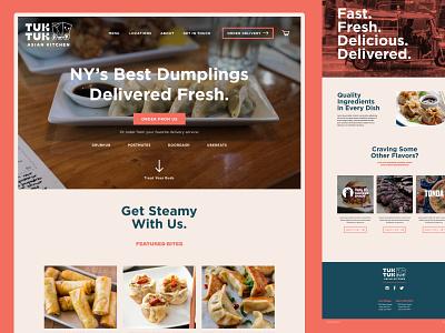 Tuk Tuk dumplings homepage design delivery homepage dumplings asian food restaurant ui design ui web design webdesign
