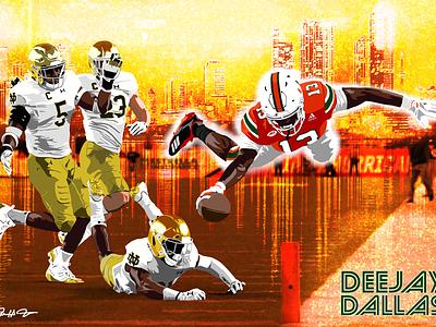 Miami Hurricanes Football Poster florida orange photoshop notre dame hurricanes football miami poster illustration