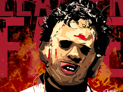 Halloween Horror Series - Leatherface chainsaw horror halloween digital art illustration leatherface