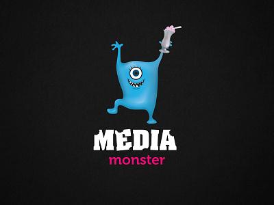 Blue net munching monsters illustration milkshake logo digital branding monsters