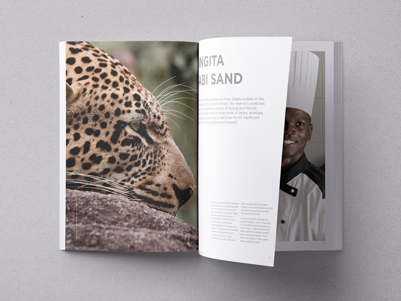 Singita Game Reserve A3 book e-commerce art direction composition moodboard photography