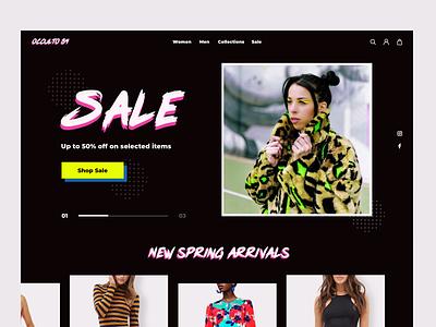 E-commerce Site - Clothing Brand bright color dark neon brand identity brand clothing ecommerce colorful bright ux design ui design design