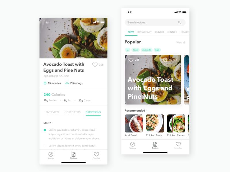 Recipe Concept recipe design app ux ui