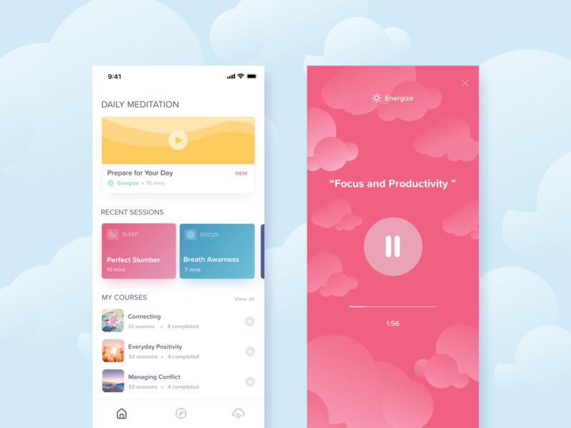 Meditation App Concept design clouds meditation timer breath bright colorful app colorful ux design ui design meditate meditation app