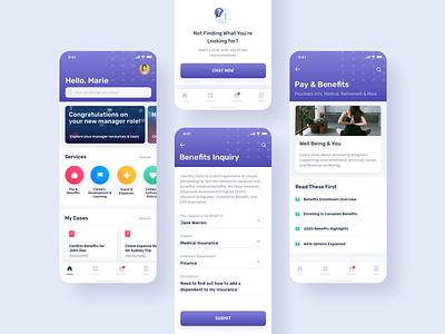 ServiceNow HR Native App mobile ios native purple human resources servicenow employee portal ux ui app colorful bright ux design ui design design