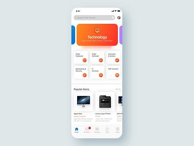 NewRocket Native App interaction animation native app employee portal ux ui servicenow app colorful bright ux design ui design design