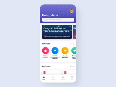 Human Resources App mobile employee portal ux ui servicenow app colorful bright ux design ui design design