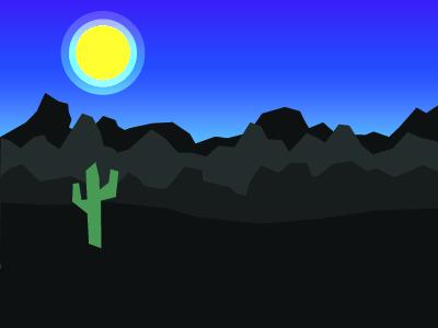 Desert night landscape