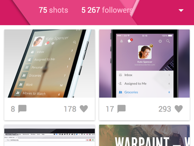 Dribbble App (Material Design)  icons ux ui mobile android l material design
