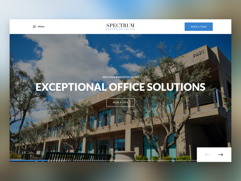Executive Suites Hero Slider redesign website ui  ux navigation slider hero offices b2b executive suites web design agency web design
