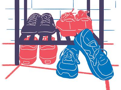 my community riso shoes illustration