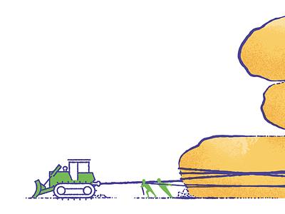 Caution bulldozer pulling people rocks illustration
