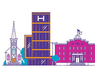 Community school church hospital cityscape illustration
