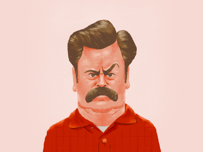Please and Thank You mustache illustration parks and rec rec parks swanson ron