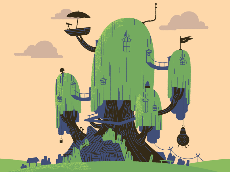 Finn & Jake's House artofooo squaredco illustration treehouse cartoon network adventure time