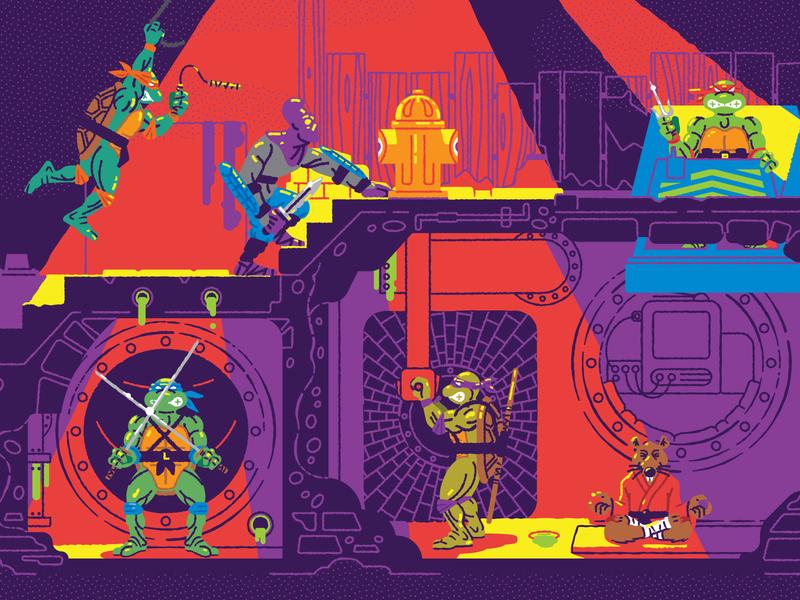 TMNT Sewerset Lair underground nostalgia playset toy illustation tmnt teenage mutant ninja turtles