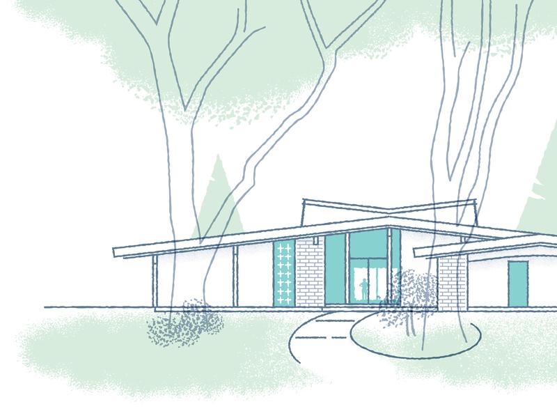 Home Sweet Home trees modern midcentury house landscape illustration