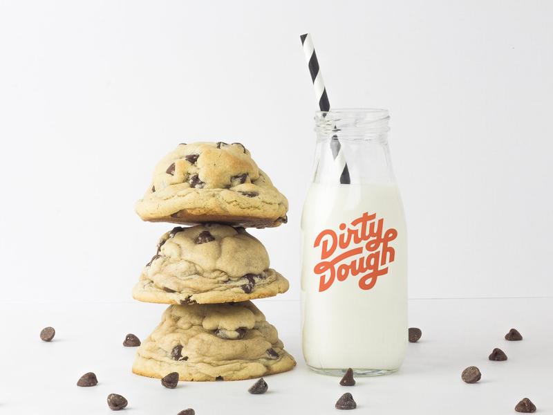 Dirty Dough Branding restaurant sugar typography script logo handlettering cookies branding