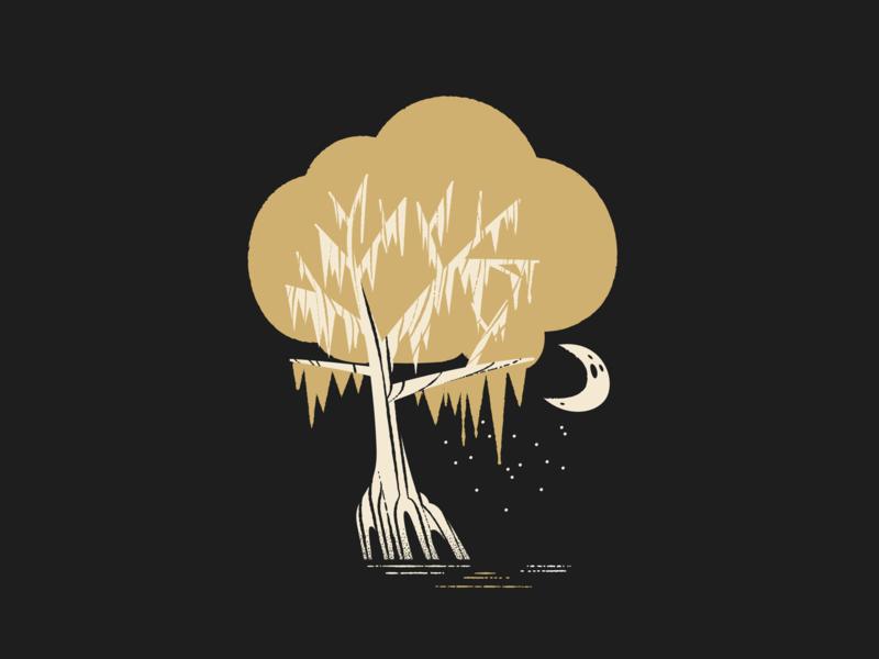 Blue Bayou moss firefly tree moon swamp bayou illustration