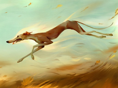 Losing Ground wind flowing flow race greyhound running art dog color digital photoshop painting illustration