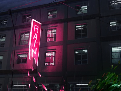 Rain in Vancouver quickie photoshop painting neon sign vancouver rain