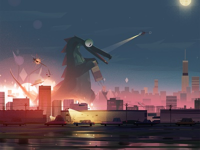 Gojira lights night destruction lizard skyline city parallel illustration