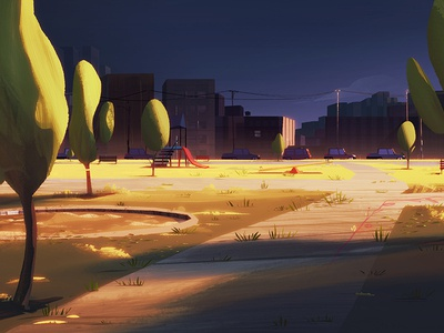 Park #2 mattepainting motion digital park sun sunset painting background