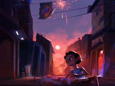 Brazil illustration sunset kid photoshop digital painting sketch color key brazil