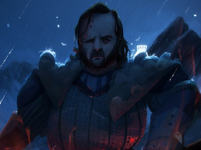Hound blue ice photoshop digital painting character fanart game of thrones hound