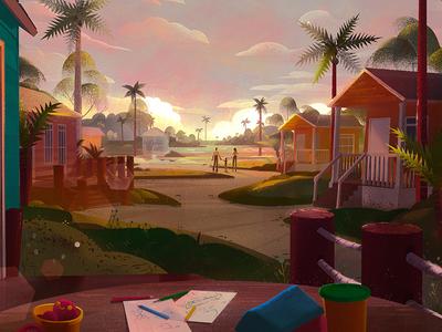 Synesthesia / Florida digital painting sketch warm colour sunset florida design illustration art