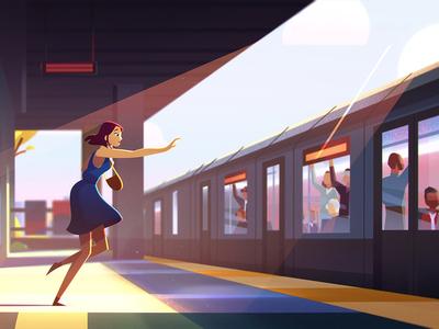 OLG — Train lottery ontario train background colour design animation styleframe
