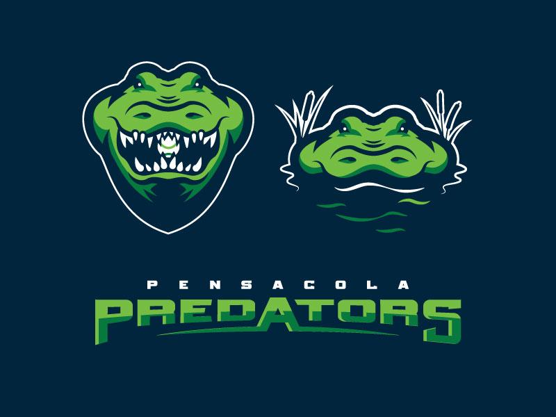 Predators Alt Look sports logo sports alligator crocodile pensacola baseball