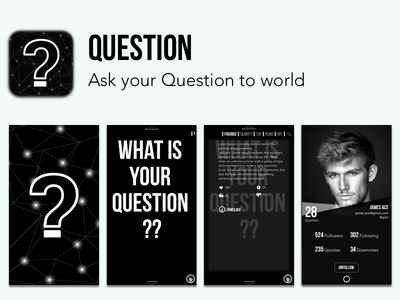 Question - App concept black  white android ios profile design ask to world concept application question