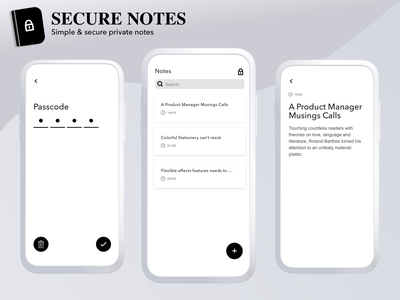 Secure Notes search text passcode note secure vector ux ui mobile minimal darshit iphone ios interface interaction design clean app animation