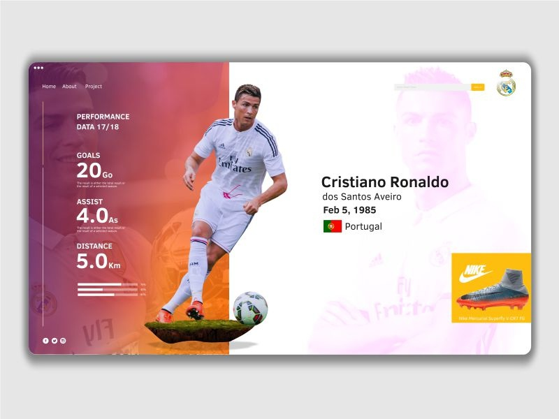 Clean design for ui football page realmadrid cr7 dribbble today post design clean ux ui
