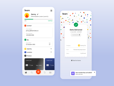 Data Locker App confetti receipt home application mobile ui mobile app app design ui