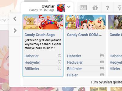 Game selection mega menu portal social facebook ux ui game