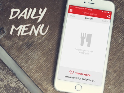 Başkent University Mobile APP - Daily Menu daily university menu food ui ux mobile app