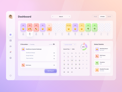 Time Management Dashboard emoji report statistic calendar management time admin panel admin dashboad concept colorful gradient icons app ux ui design
