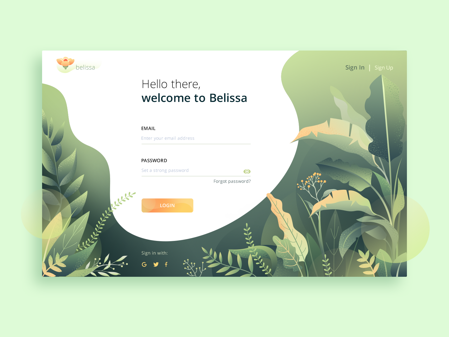 Login page green gradient webdesign flower web typography vector illustration sign in sign up login design login page ui design ui ux design