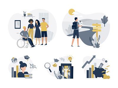 University Illustrations people diversity flat university web design higher education digital art illustration