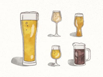 Beer Glassware Illustrations