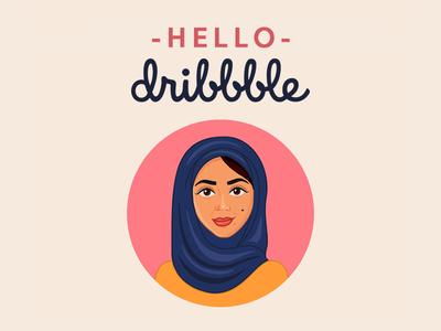 Hello Dribbble! self-portrait illustration hello dribbble debut first shot