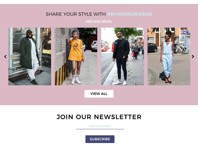 Display of brand clothing styles diversity ui ux responsive newsletter mirror store ecommerce style clothing brand display
